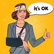 Pop Art Beaten Business Woman with Bandaged Arm Smiling. Injured